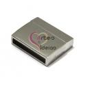 Fecho Metal [tipo inox] Liso - Prateado (20x3mm)