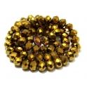 Fiada Contas de Cristal Facetadas - Gold Plated (8 x 6) - [aprox. 72 unds]