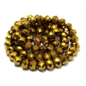 Fiada Contas de Cristal Facetadas - Gold Plated (8x6mm)