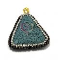 Pendente Pedra Vulcânica Triângulo com Brilhantes - Azul Claro (32x32mm)