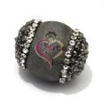 Pedra Semi-Preciosa Gema Bola Furada com Cristais - Cinza Prata