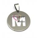 Pendente Aço Inox Medalha Redonda Letra M - Prateado (25mm)