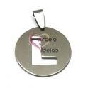 Pendente Aço Inox Medalha Redonda Letra L - Prateado (25mm)