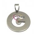 Pendente Aço Inox Medalha Redonda Letra C - Prateado (25mm)
