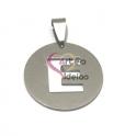 Pendente Aço Inox Medalha Redonda Letra E - Prateado (25mm)