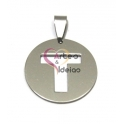 Pendente Aço Inox Medalha Redonda Letra T - Prateado (25mm)