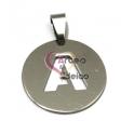 Pendente Aço Inox Medalha Redonda Letra A - Prateado (25mm)