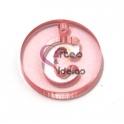 Pendente Acrílico Recorte Letra C - Rosa (21mm)