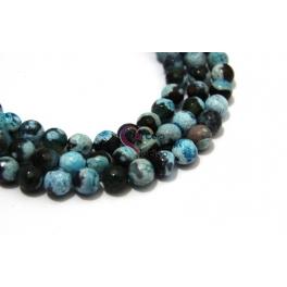 Fiada de Pedras Bolinhas Semi-Preciosas Azul e Preto (8 mm) - [48 unds]