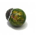 Pedra Semi-Preciosa Bola com Capa Cristais - Verde Mesclado