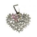 Pendente Aço Inox Coração Mãe - Prateado (25mm)