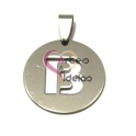 Pendente Aço Inox Medalha Redonda Letra B - Prateado (25mm)