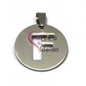 Pendente Aço Inox Medalha Redonda Letra F - Prateado (25mm)