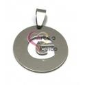 Pendente Aço Inox Medalha Redonda Letra G - Prateado (25mm)