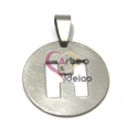 Pendente Aço Inox Medalha Redonda Letra H - Prateado (25mm)