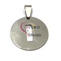 Pendente Aço Inox Medalha Redonda Letra I - Prateado (25mm)