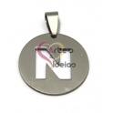 Pendente Aço Inox Medalha Redonda Letra N - Prateado (25mm)