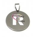 Pendente Aço Inox Medalha Redonda Letra R - Prateado (25mm)