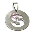 Pendente Aço Inox Medalha Redonda Letra S - Prateado (25mm)
