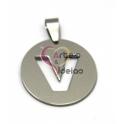 Pendente Aço Inox Medalha Redonda Letra V - Prateado (25mm)