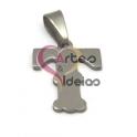 Pendente Aço Inox Letra T - Prateado (18mm)