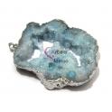 Pendente Geode Grande Azul com Prateado (60 a 80mm)