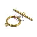 Fecho Aço Inox em T (22mm) - Dourado