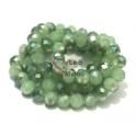 Fiada Contas de Cristal Facetadas - Verde Opal com Metalizado (8 x 6) - [aprox. 72 unds]