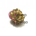 Conta Bolinha de Brilhantes Dourado - Furo Largo (10 mm)