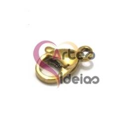 Fecho Aço Inox Mosquetão - Dourado (7 x 11 mm)