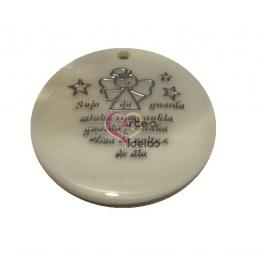 Pendente de Madrepérola Oração Anjo da Guarda - Prateado (40mm)