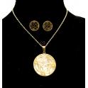 Conjunto Aço Inox Medalhão Floral com Madrepérola - Dourado
