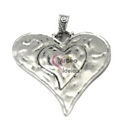 Pendente Metal Chapa Coração - Prateado (65 x 60mm)