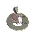 Pendente Aço Inox Medalha Redonda Letra J - Prateado (25mm)