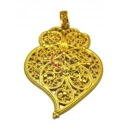 Pendente Coração de Viana [modelo 4] - Dourado Mate (78 x 58)