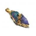 Pendente Geodes Turquesa e Lilás com Dourado (30 x 15 mm)