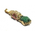 Pendente Geodes Camel e Verde (30 x 15 mm)