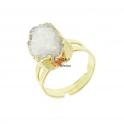 Anel Ajustável Druzy Branca - Dourado