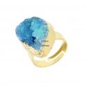 Anel Ajustável Druzy Azul - Dourado