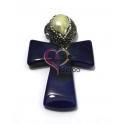 Pendente Cruz Comprida com Madrepérola e Brilhantes - Azulão (60x40mm)