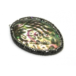 Pendente Oval Madrepérola Colorida com Brilhantes (57x45mm)