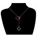 Fio Aço Inox Minimal Square Pendant - Dourado