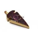 Pendente Pedra Seta Mesclada Rebordo Dourado - Rosa e Garnet (55x30mm)