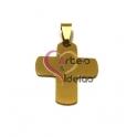 Pendente Aço Inox Cruz Lisa (1) - Dourado (30x25mm)