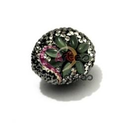 Pendente Bola de Brilhantes com Flor Olho de Gato Verde (25x18mm)