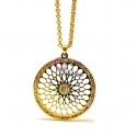 Fio Aço Inox Medalhão Recortado com Brilhantes - Dourado