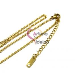 Fio Aço Inox Completo 316 L Elo Oval (2 x 3mm) - Dourado [45 cm]