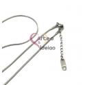Fio Aço Inox Completo 316L Malha Snake (1mm) - Prateado [45 cm]