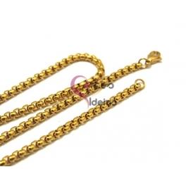 Fio Aço Inox Completo 316 L Elo Redondo Fechado (3.5mm) - Dourado [50 cm]