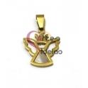 Pendente Aço Inox Anjinho com Coroa - Dourado (24x20mm)
